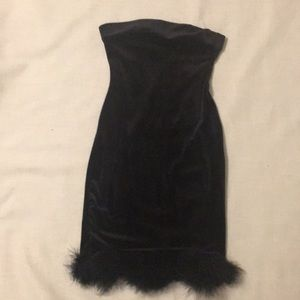 Dolls Kill Marabou dress, small, black velvet